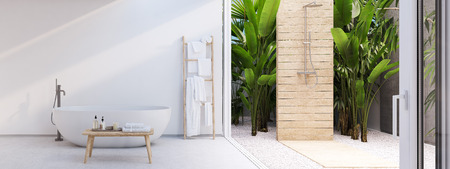 New modern zen bathroom with tropic plants. 3d rendering
