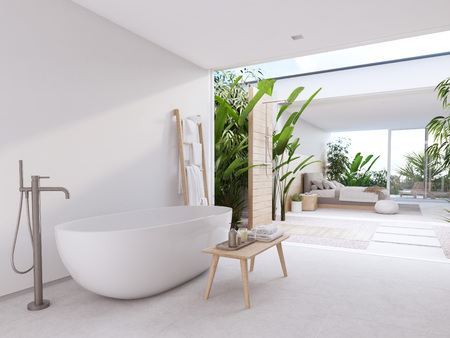 new modern zen bathroom with tropic plants. 3d rendering 스톡 콘텐츠