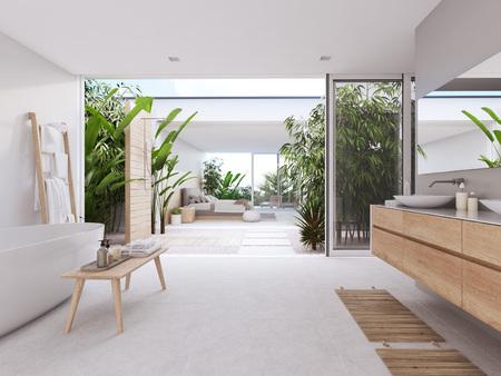 new modern zen bathroom with tropic plants. 3d rendering Imagens