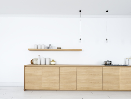 frontal view of modern nordic kitchen in loft apartment. 3D rendering