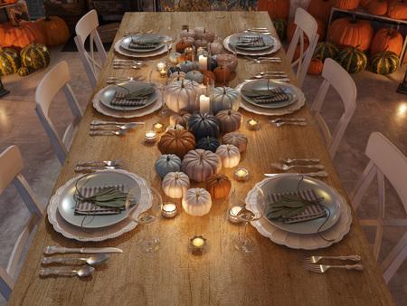 cucina nordica in un appartamento. Rendering 3D. concetto di ringraziamento. Archivio Fotografico