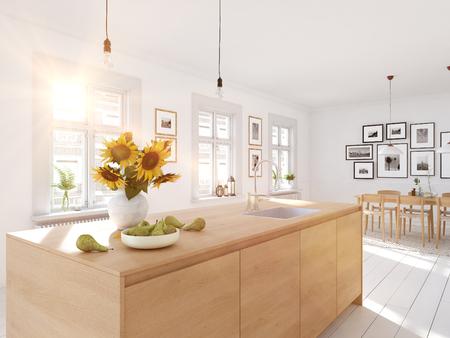 Cocina nórdica moderna en departamento tipo loft. Representación 3D
