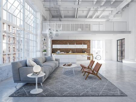 Nuevo y moderno departamento tipo loft en ciudad. Representación 3d Foto de archivo