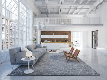 nuovo appartamento loft moderno in città. rendering 3d Archivio Fotografico