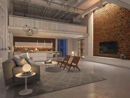 new modern city loft apartment by night. 3d rendering