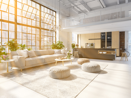 3D-Illustration of a new modern city loft apartment. 写真素材