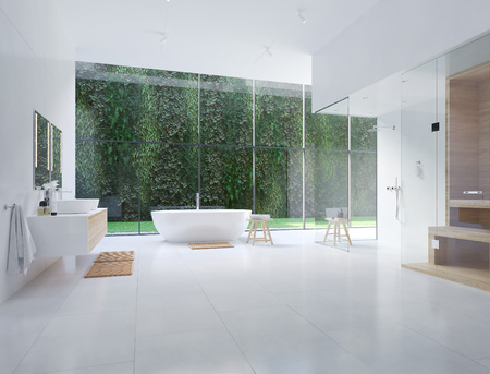 3D new modern zen bathroom with tropic plants. 3d rendering