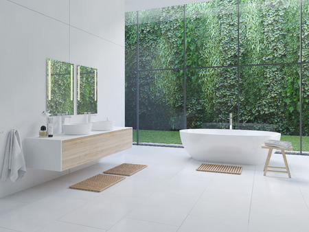 Nuevo baño zen moderno 3D con plantas tropicales. Representación 3d