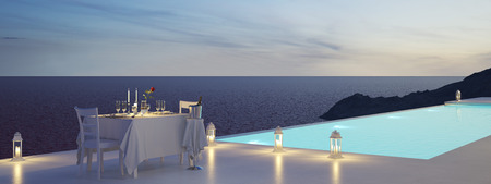 3D rendering of pool villa with champagne. valentines day