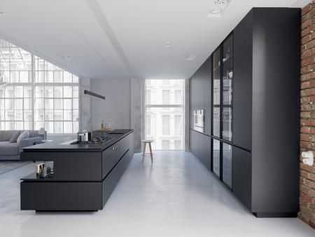 3D-Illustration of a new modern city loft apartment. Stock Photo