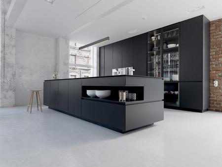3D-illustratie van een nieuw modern stadsloft-appartement.