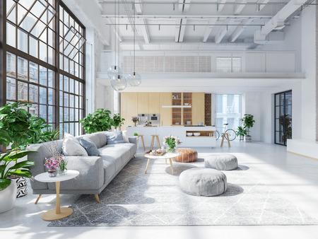 Ilustración 3D de un nuevo y moderno apartamento tipo loft en la ciudad.