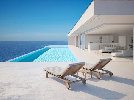 3D-Illustrazione. moderna villa estiva di lusso con piscina a sfioro