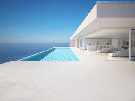 3D-Darstellung. moderne Luxus-Sommervilla mit Infinity-Pool
