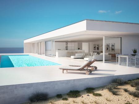 3D-Illustration. villa d'été de luxe moderne avec piscine à débordement Banque d'images