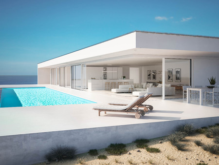 3D-Illustration. modern luxury summer villa with infinity pool