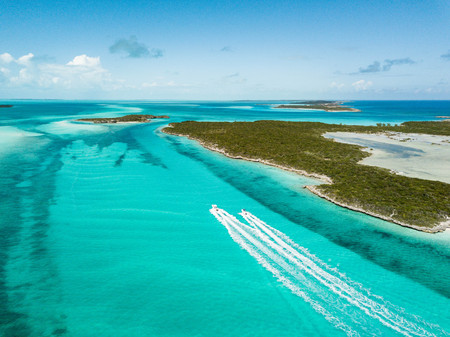 drone bird view of exuma in the bahamas. summer vaction