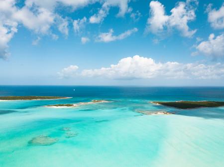 vista aérea de Exuma en las Bahamas. vacaciones de verano Foto de archivo