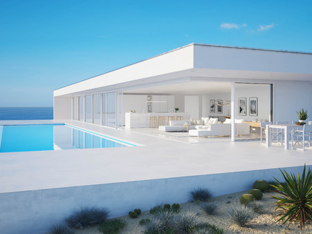 Ilustración 3D. moderna villa de verano de lujo con piscina infinita