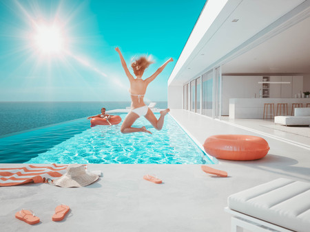 3D-Illustration. woman jumping in the pool. summer fun 写真素材