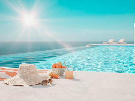 3D-Illustration. modern luxury infinity pool with summer accessoires Stockfoto - 124853992