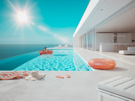 3D-Illustration. modern luxury infinity pool with summer accessoires. teal and orange 写真素材