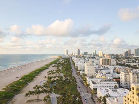 Top view of Ocean Drive. South Beach Miami 写真素材