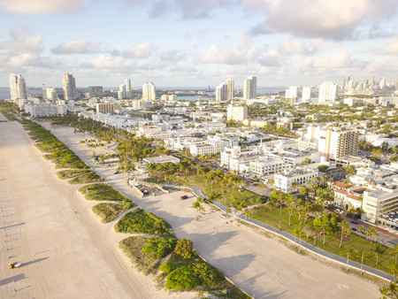 Top view of South Beach Miami. drone view