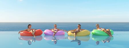 3D-Illustration of women swimming on float in a pool. 写真素材