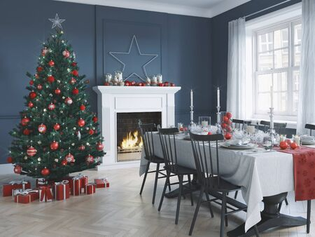 3D-Illustration. nordic living room with christmas decoration.