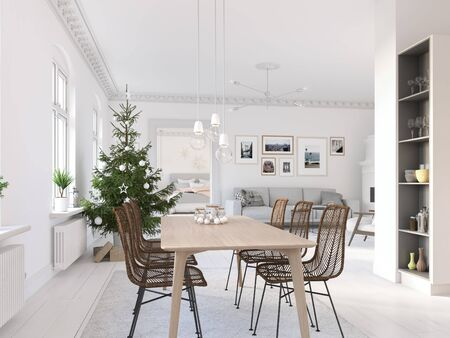 3D-Illustration. new nordic kitchen with christmas decoration. Banque d'images - 133982541