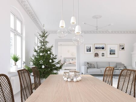 3D-Illustration. new nordic living room with a christmas tree. 스톡 콘텐츠