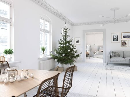 3D-Illustration. new nordic living room with a christmas tree. Banque d'images - 133982542