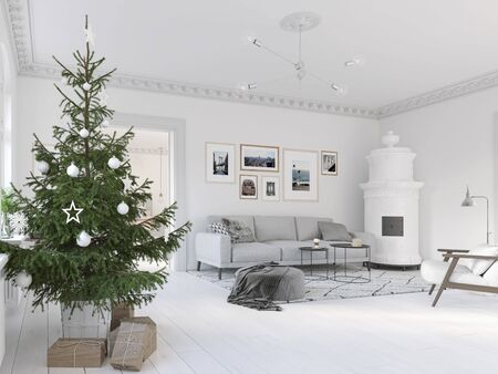 3D-Illustration. new nordic living room with a christmas tree. Banque d'images - 133982545