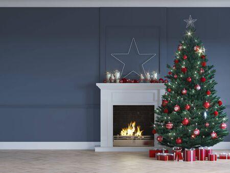 3D-illustratie. kersttafereel met versierde boom en open haard. Stockfoto