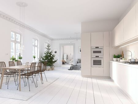 3D-Illustration. new nordic kitchen with christmas decoration. 스톡 콘텐츠