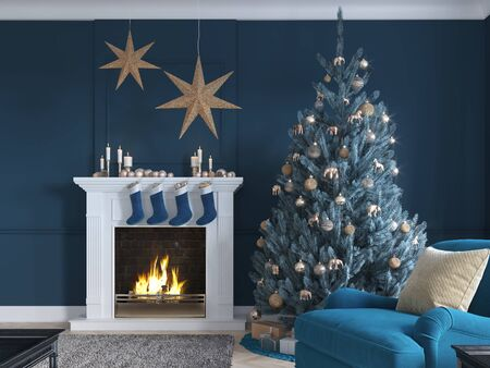 3D-Illustration. christmas scene with decorated tree and fireplace. 스톡 콘텐츠