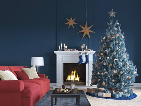 3D-Illustration. christmas scene with decorated tree and fireplace. Banque d'images - 136663444