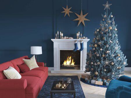 3D-Illustration. christmas scene with decorated tree and fireplace. Banque d'images - 136663448