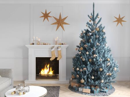 3D-Illustration. christmas scene with decorated tree and fireplace. Banque d'images - 136663449
