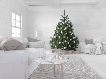 3D-Illustration. new nordic living room with a christmas tree. Фото со стока