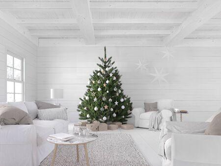 3D-Darstellung. neues nordisches wohnzimmer mit weihnachtsbaum.