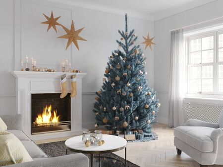 3D-Illustration. christmas scene with decorated tree and fireplace. Banque d'images - 136663476