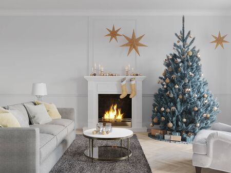 3D-Illustration. christmas scene with decorated tree and fireplace. Фото со стока