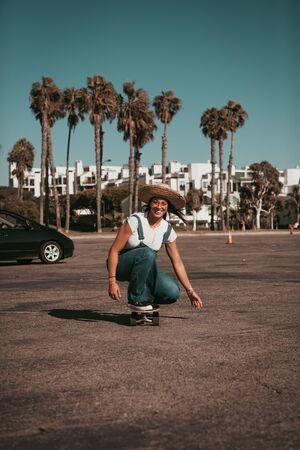 profi skater on a parking spot at santa monica. california Standard-Bild