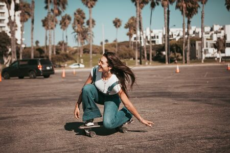 profi skater on a parking spot at santa monica. california Banco de Imagens - 138977494