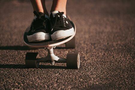 profi skater on a parking spot at santa monica. california 스톡 콘텐츠