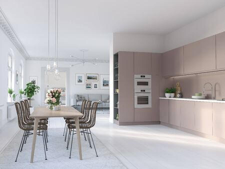 3D-Illustration of a nordic kitchen in modern apartment. homes Banco de Imagens - 140036687