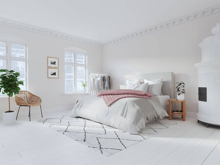 3D-Illustration. modern nordic style bedroom. lifestyle 版權商用圖片