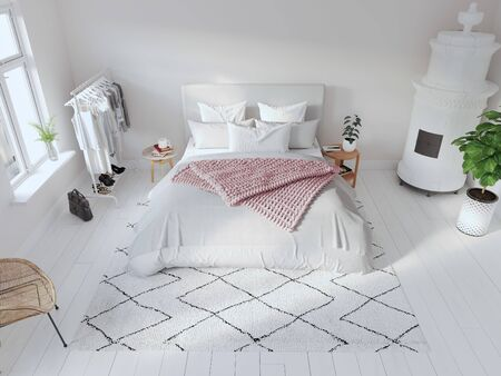 3D-Illustration. modern nordic style bedroom in bright apartment